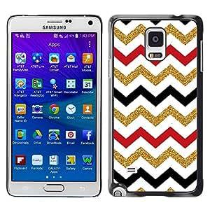 [Neutron-Star] Snap-on Series Teléfono Carcasa Funda Case Caso para Samsung Galaxy Note 4 [Patrón marroquí de Oro Rojo Negro Blanco]