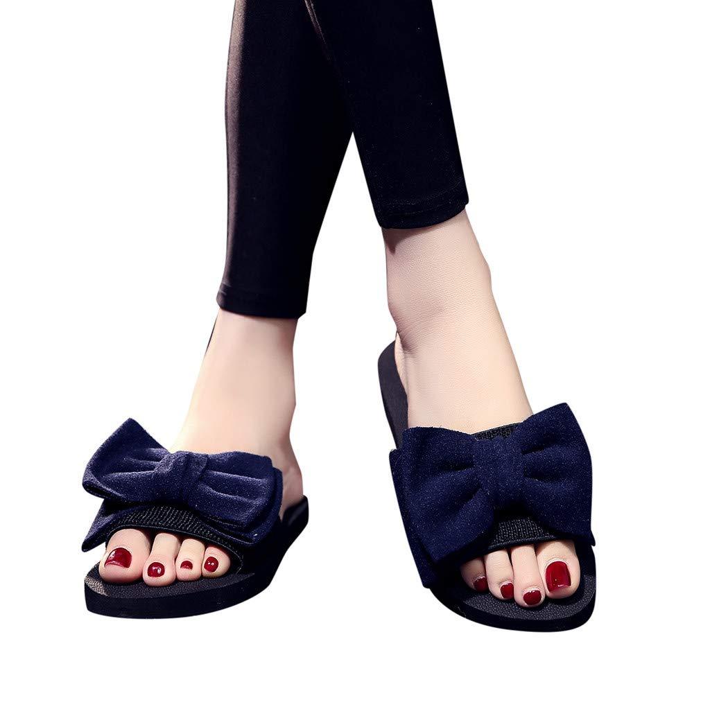 AIMTOPPY Shoes,Women's Bohemian Bow Flat Slippers Summer Sandals Non-Slip Beach Shoes