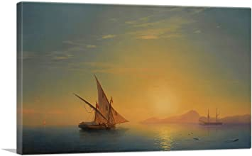 A Sailing Ship on a High Sea by Moonlight Canvas Art Print by Ivan Aivazovsky