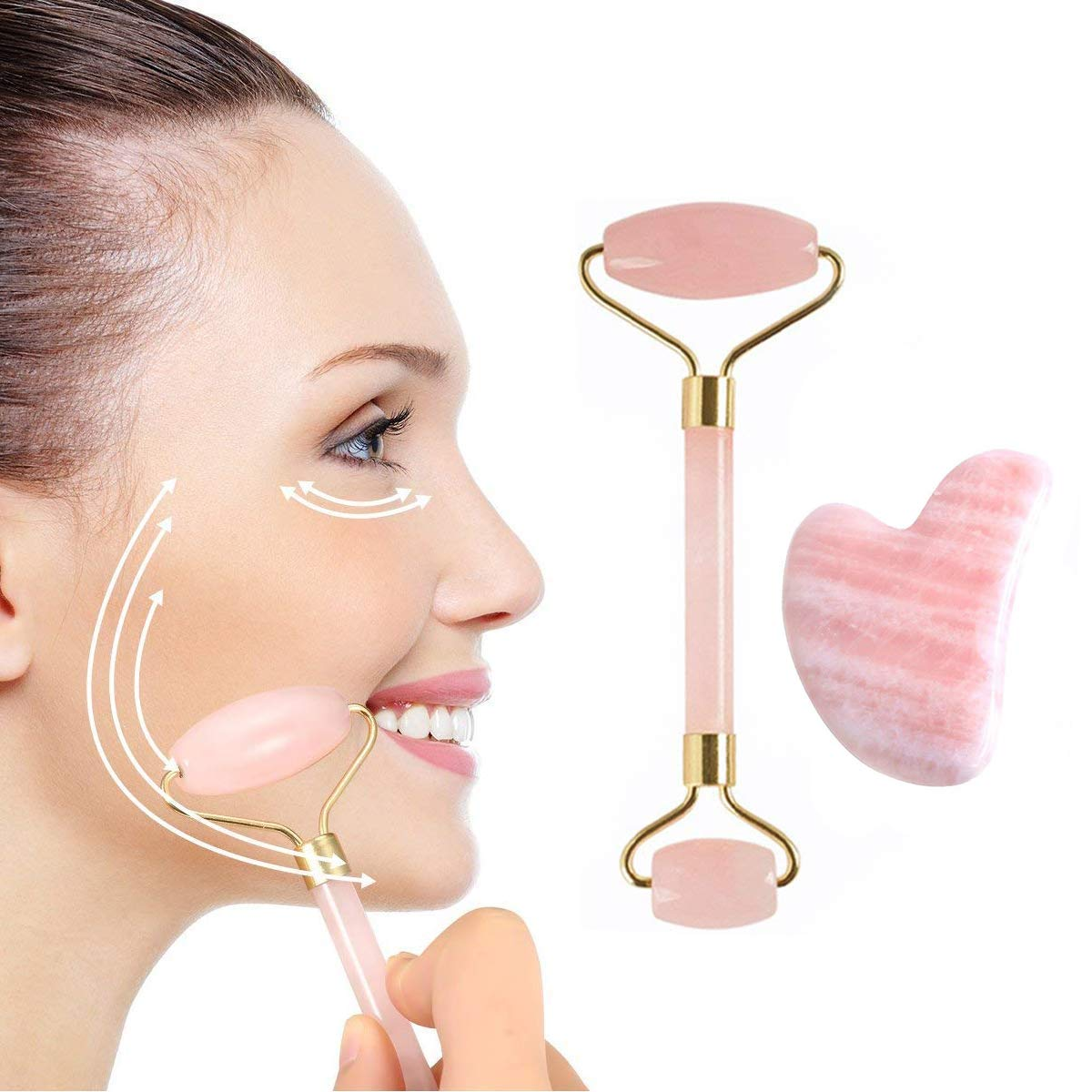 Jade Roller for Face and Gua Sha Massage, Body Relaxation; Real Natural Rose Quartz Stone Facial Massage, Anti-Aging Beauty Skincare Tool to Reduce Dark Circles and Puffy Eyes; Therapy for Wrinkles (Pink(Heart type)) ASANDH