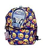 Emoji Blue Plaid 17 Inch Backpack with Bonus