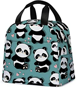 Panda Lunch Bag, Cute Kids Insulated Lunch Box Reusable Cooler Tote Bag Multi-functional School Lunch Container for Teen Boys Girls (Teal)