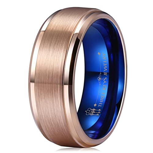Three Keys Jewelry 8mm Tungsten Wedding Ring For Men 18k Rose Gold