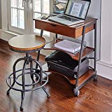 Modern Mobile Space Saving Desk | Perfect Home Office Contemporary Wood Storage Organizer Cart & Table for Your Laptop, Printer, Papers and Accessories