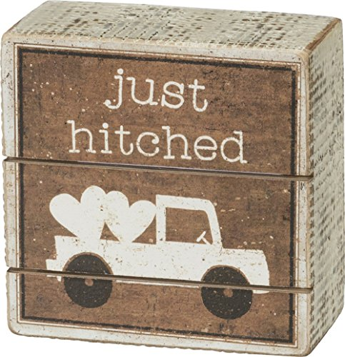 Primitives by Kathy Slat Box Sign Just Hitched ()