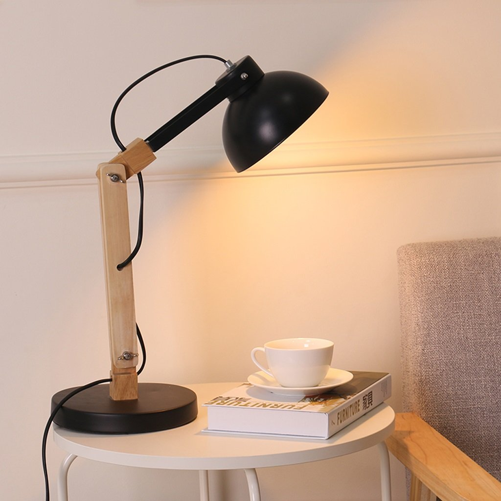 Great St. 5W LED Eye Protection Reading Light Study Room Children Learning Table Lamp Bedside Lamp Solid Wood Desk Lamp FGD (Color : BLACK)