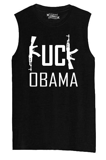 71cc710e Mens Muscle Tank Fuck Obama - Funny Political Anti Obama Pro Gun Rights  Shirt Black XS