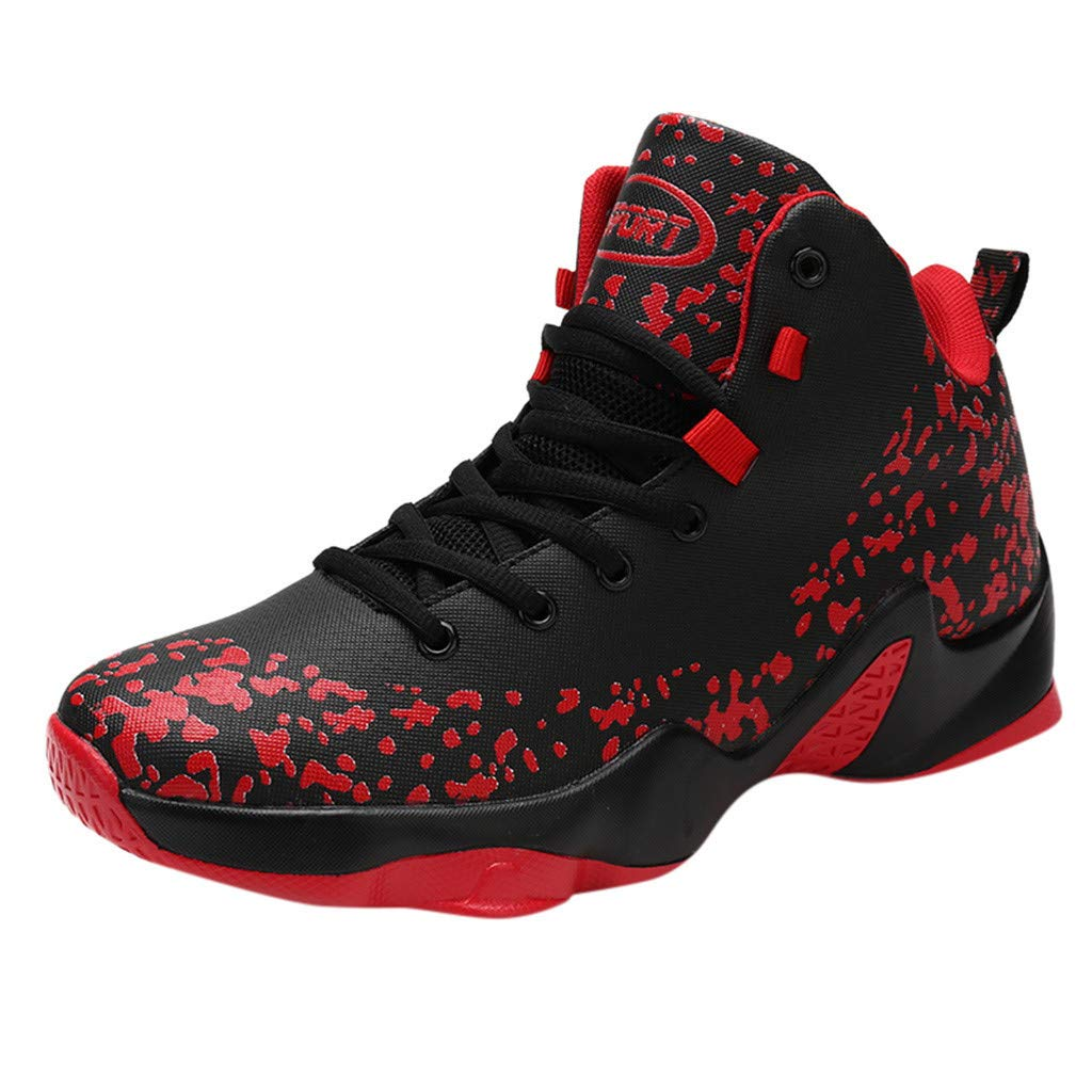 Men's Breathable Basketball Shoes Student Shock Absorption Casual Sneakers Graffiti High-Top Sports Shoes By Lmtime(Red,39)