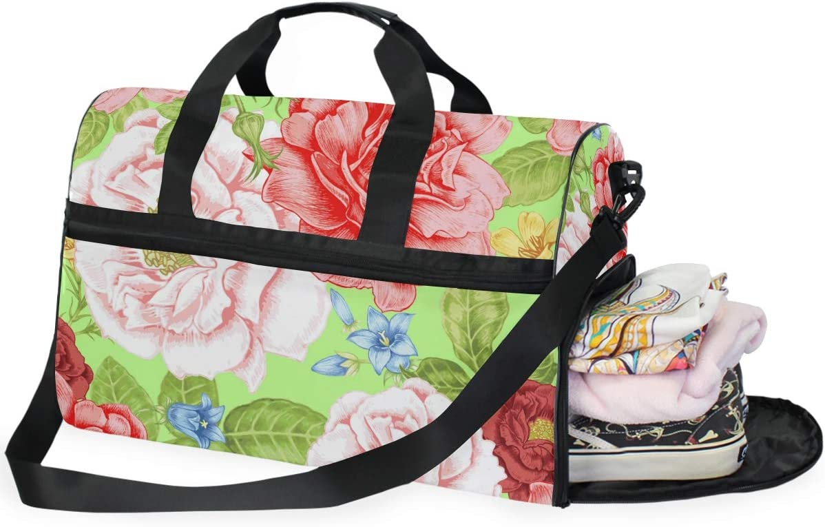 FAJRO Gym Bag Travel Duffel Express Weekender Bag Colorful Flowers Carry On Luggage with Shoe Pouch