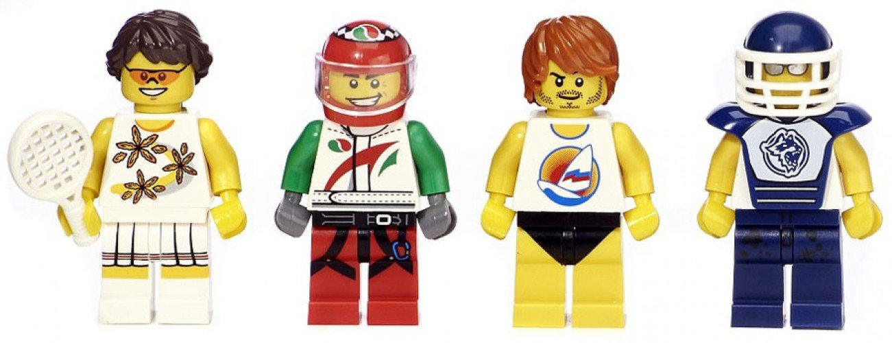 5004573 Tennis Player, Race Car Driver, Surfer, and Hockey Player LEGO Bricktober Athletes Minifigure Set