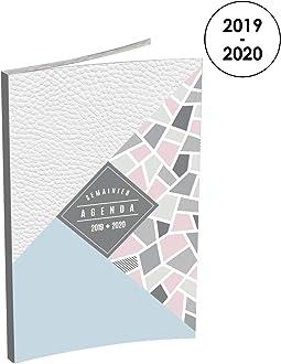 Beige Lecas Tandem Agenda Semainier 2019-2020 de Ao/ût /à Ao/ût 1 Semaine sur 2 Pages Format 16x24cm Couverture Effet Cuir Vert