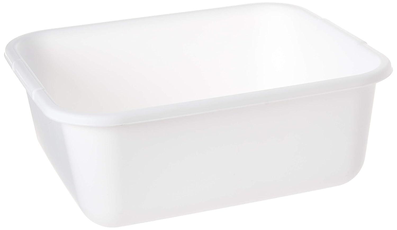 "11.4 QT White Plastic Rectangular Dish Pan, 14.45"" x 12.55"" x 5.67"", Pack of 2"