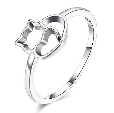HSINCERELY Anillo para Mujer diseño de Gato, Ideal, San Valentín, cumpleaños, Boda (Plata nº 8)