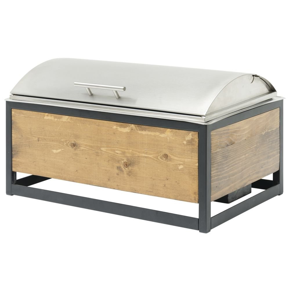 Rolltop Chafer in Reclaimed Wood Stand Stainless Steel Full Size - 22 3/4''L x 13 3/4''W x 12 1/2''H