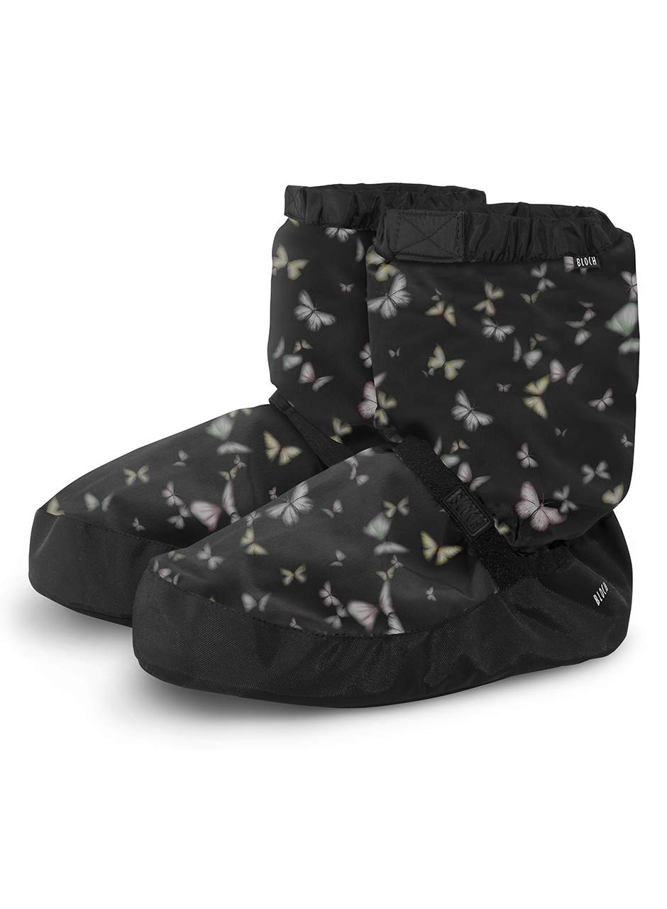 Bloch Girl's Printed Warm Up Boot Slipper, Black Papillon, L Medium US Little Kid