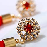 Women's Tassel Earrings Crystal Inlaid Flower