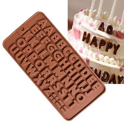 hacloser alfombrilla de moldes de silicona para hornear decoración de pasteles, Macaron Inglés Carta Chocolate