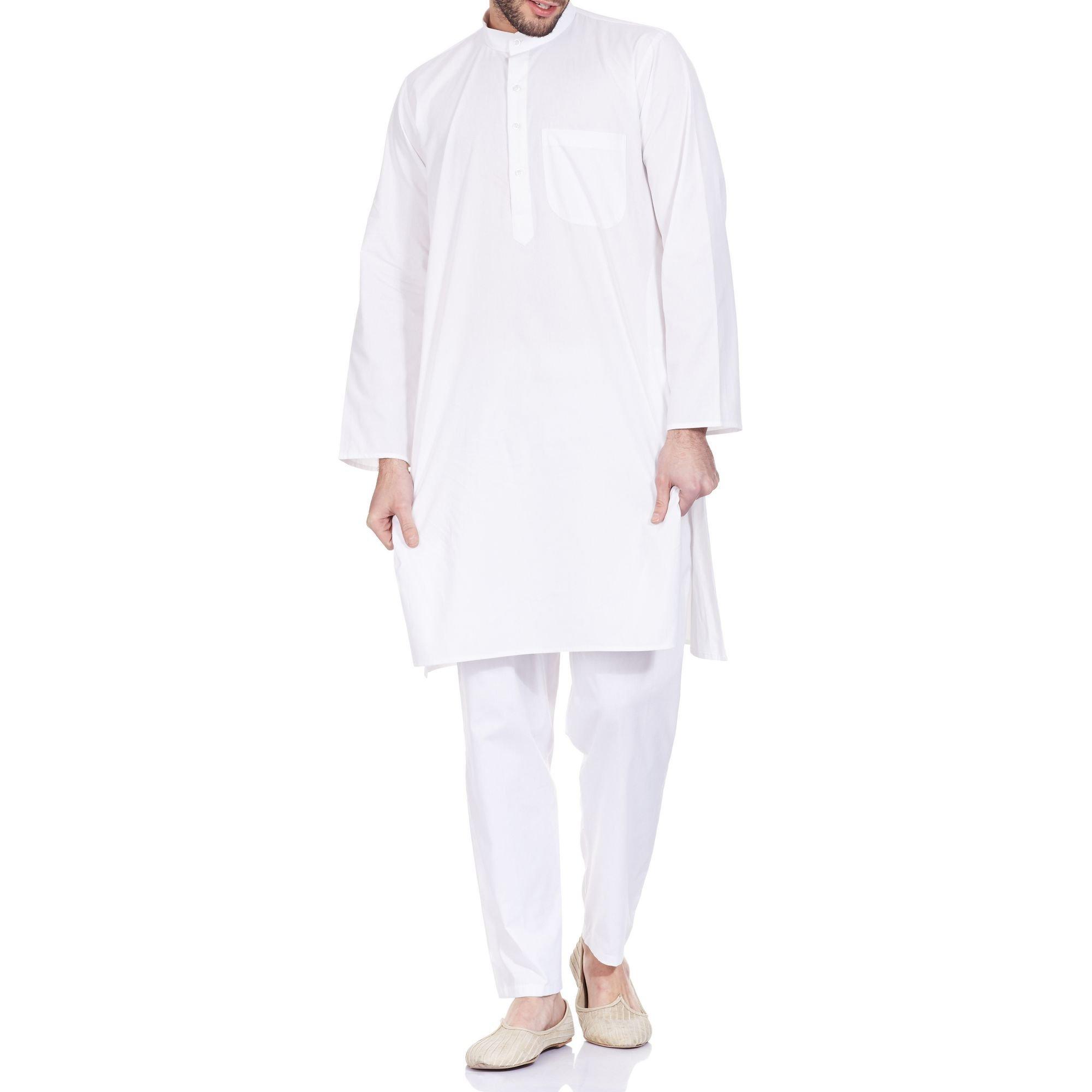 White Cotton Men's Kurta Pajamas Set - Traditional Costume -Casual Summer Dress
