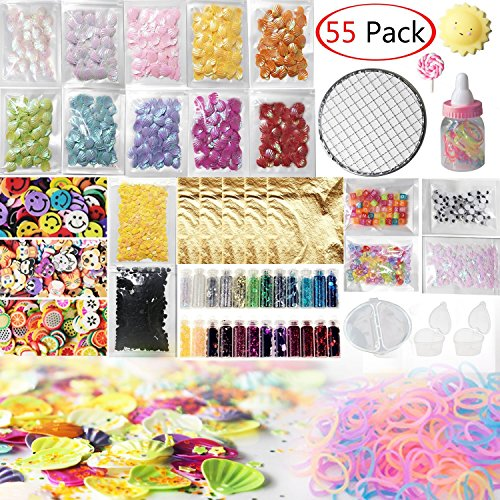 Slime Supplies Kit, 55 Pcs Slime Kit for Girl, Eyes, Shell, Snowflake, Slices, Rubber Band, Lollipops, Glitter Jars, Imitation Gold Leaf for Slime DIY Craft, Homemade Slime, Slime Party Decoration
