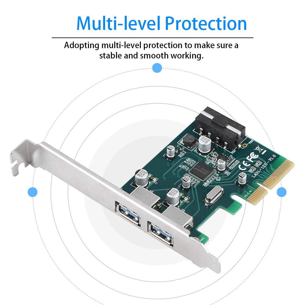 USB 2.0 y USB 1.1 Oumij 10 Gbps Transmisi/ón de Datos Adaptador PCIE a USB 3.1 Protecci/ón multinivel Adaptador PCI Express al rev/és Compatible con Dispositivos USB 3.0