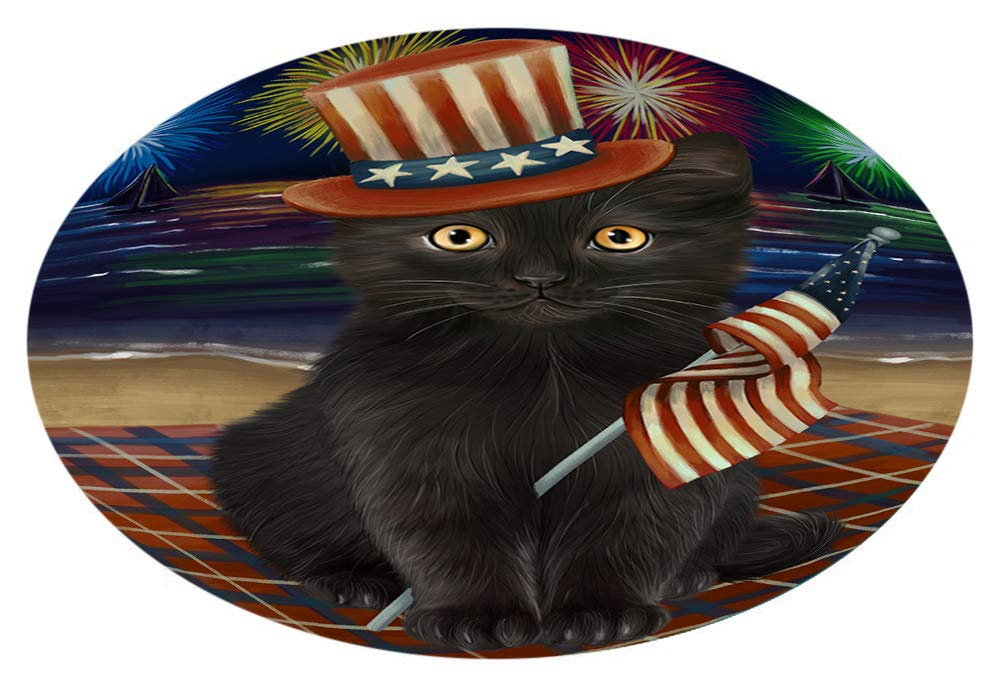 4th July Independence Day Firework Black Cat Oval Envelope Seals OVE64288 (20)