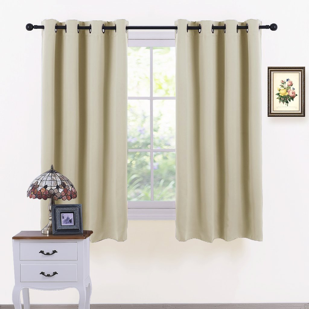 S-D Super Soft Blackout Curtains, Thermal Insulated Curtains for Bedroom Living Room 1 Pair (Bianco latteo)