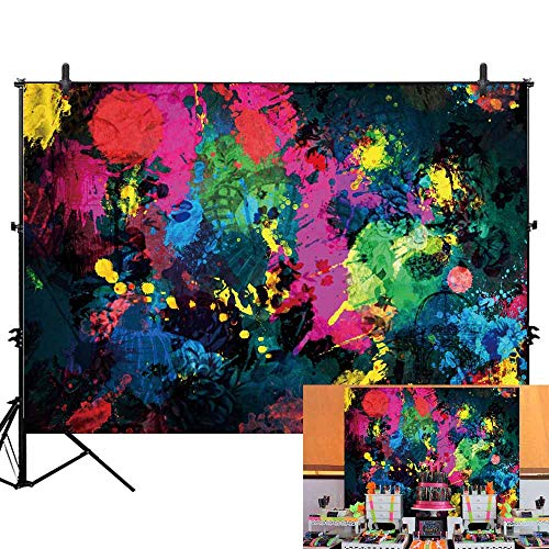 Allenjoy 7x5ft Glow Neon Abstract Graffiti Paint Splatter Backdrop Glow Party 80S 90S Themed Birthday Party Banner Decoration Graffiti Painting Photography Background Photo Booth Props -
