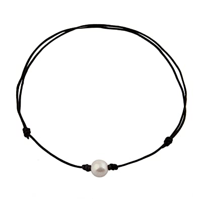 3b4a9e8ebe38b MAOFAED Single Freshwater Pearl Choker Necklace can be Adjustable Leather  Cord One Bead Jewel