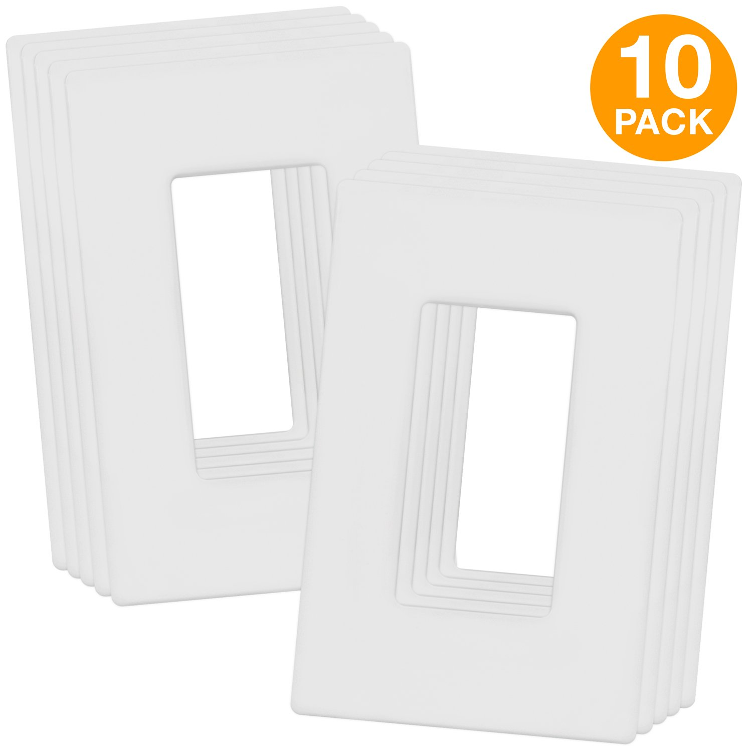 Enerlites SI8831-W-10PCS Screwless Decorator Wall Plates Child Safe Outlet Covers, 1-Gang Standard Size, Unbreakable Polycarbonate Thermoplastic, White (10 Pack)