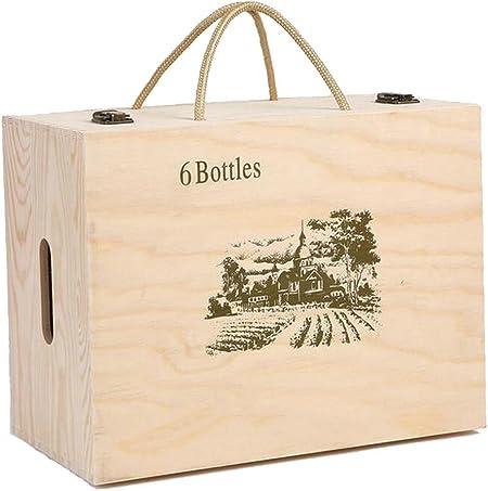 Lshky Caja De Vino Madera Retro Seis Botellas Color del Registro con Cerradura De Metal Y