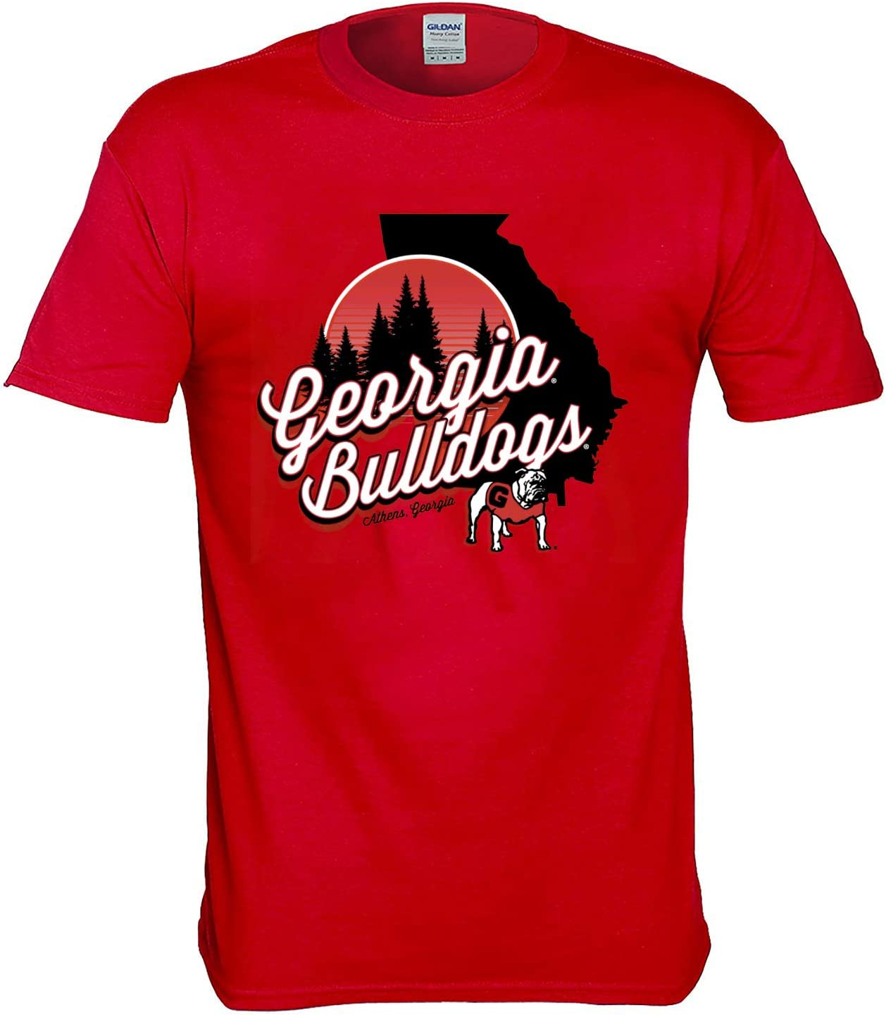 New World Graphics Georgia Bulldogs Shirt with State and Forest Design
