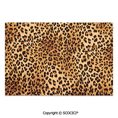 (SCOCICI Place Mats Set of 6 Personalized Printed Non-Slip Table Mats Wild Animal Leopard Skin Pattern Wildlife Inspired Stylish Modern Illustration for Dining Room Kitchen Table Decor)