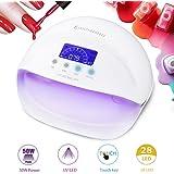 50W Nagellampe UV/LED Nageltrockner, 28pcs LEDs Lampe für Nägel LCD Display Touch Key mit 4 Timer, für Nagellacke und Gel & Trocknen Schnell von Gelnägel und Zehennägel -Duomishu (weiß) (weiß)