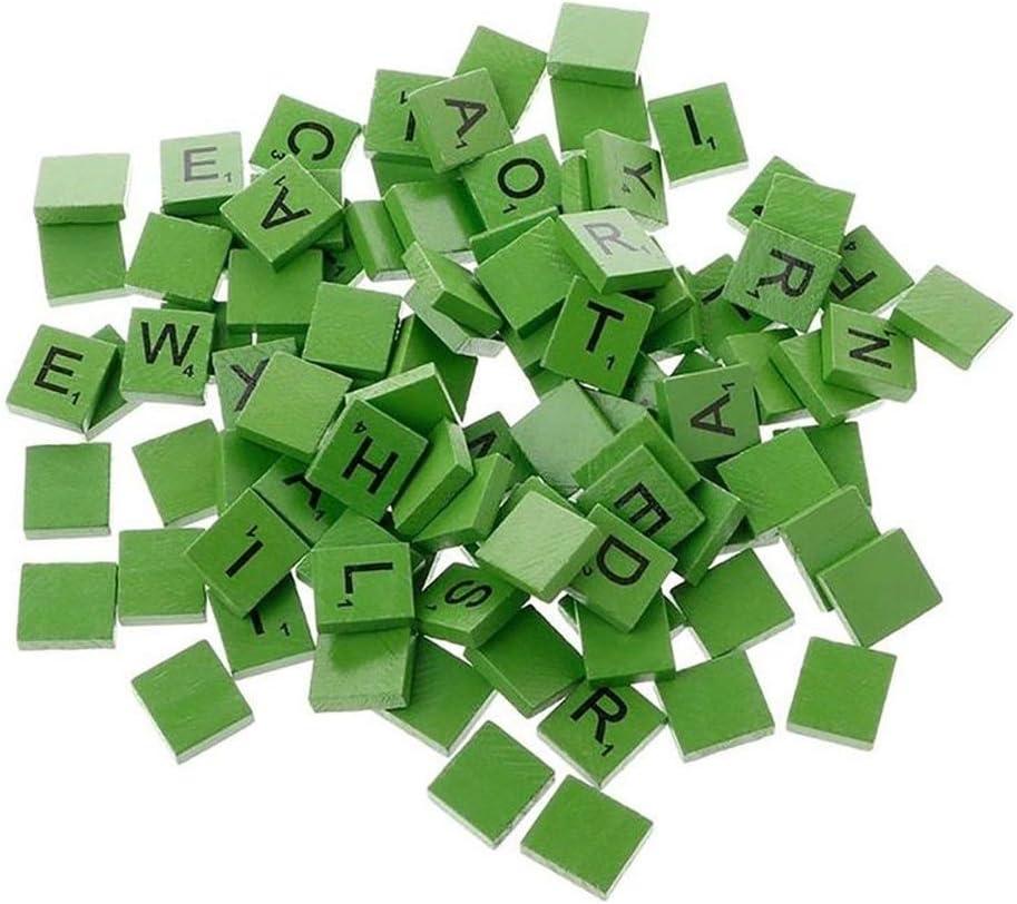 Pivica 100Pcs/set Colorful English Words Wooden Letters Alphabet Tiles Black Scrabble Letters & Numbers (Green): Amazon.es: Hogar