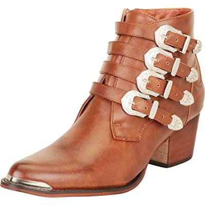 Cambridge Select Women's Western Pointed Toe Strappy Buckle Chunky Block Mid Heel Ankle Bootie | Ankle & Bootie