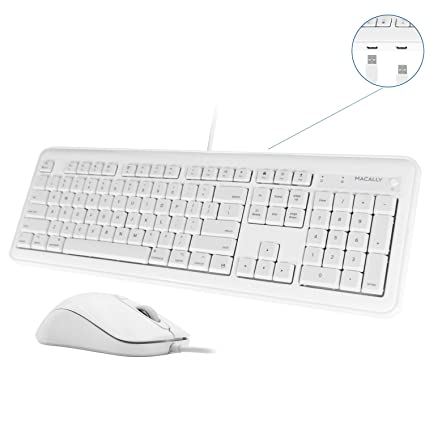 Macally Full Size USB Wired Keyboard & Mouse Combo with 2 USB-A Ports Hub &  16 Apple Shortcut Keys (Power, Sleep) for Mac OS Computer Apple iMac iMac