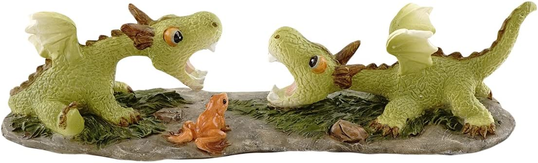 Top Collection Miniature Fairy Garden and Terrarium Mini Dragons Playing Figurine