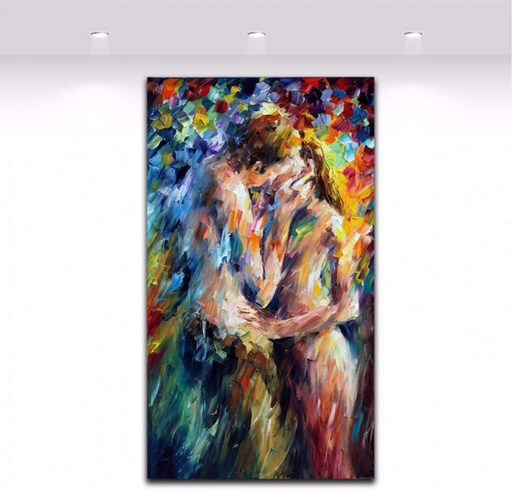 Yejhusg Hand Painted Spatula Body Art Nude Woman And Man Kiss Picture Canvas Painting For Bedroom Wall Decoration Amazon Co Uk Kitchen Home