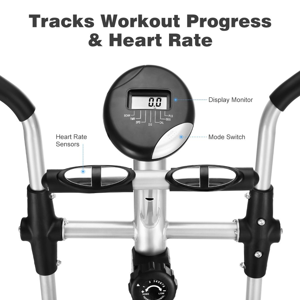 Finether - Bicicleta Elíptica Multifuncional,Bicicleta de ejercicios con pulso de mano, 8 niveles de resistencia y ruedas de transporte, 265 lbs / capacidad ...