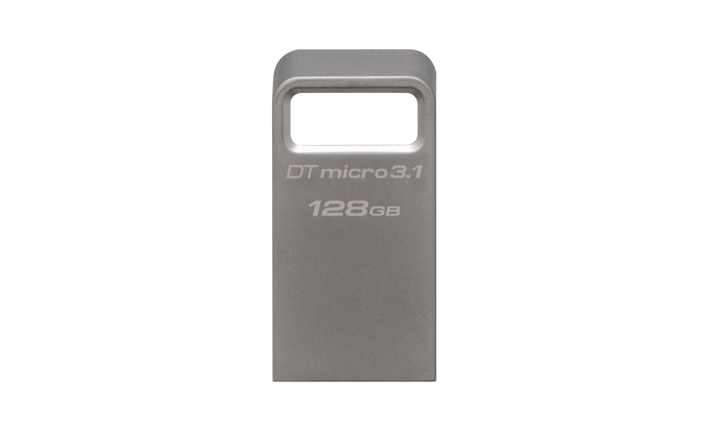 Kingston DataTraveler Micro 3.1 128GB USB 3.0 Compatible Hi-Speed up to 100MB/s Ultra-small Metal Case Flash Drive (DTMC3/128GB) - Silver