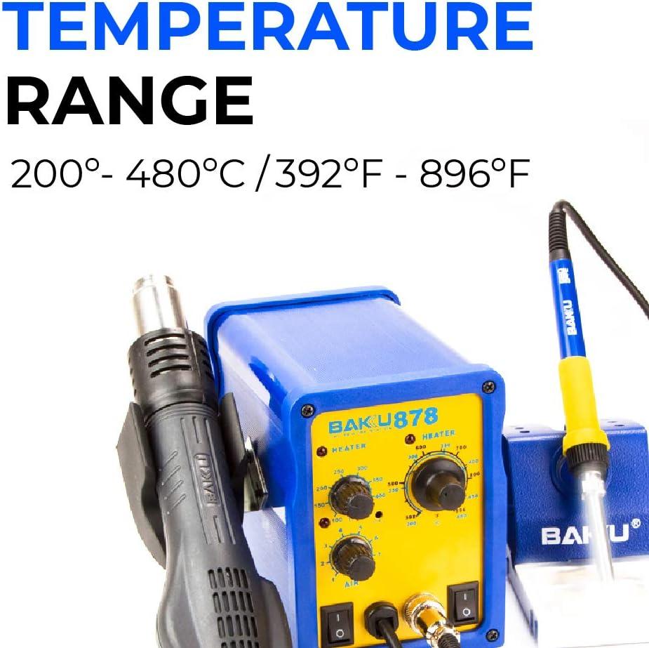 750W, Aire M/áx 120L//min, Soldador, Decapador, Pantalla LED, Control Temperatura BAKU 878 Estaci/ón de Soldadura y Pistola de Aire Caliente Azul