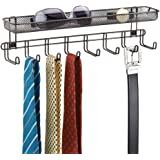 mDesign Closet Wall Mount Men's Accessory Storage Organizer Rack - Holds Belts, Neck Ties, Watches, Change, Sunglasses, Wallets - 8 Hooks and Basket - Bronze