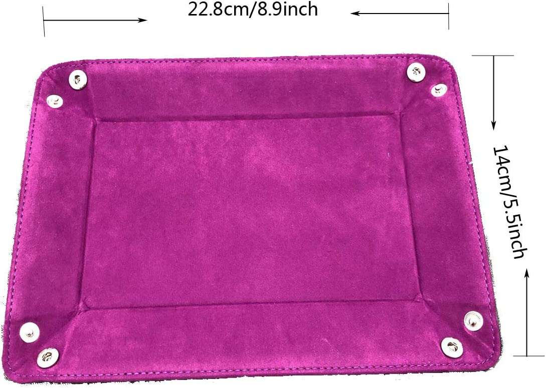 Yueser 2 St/ück Doppelseitige W/ürfel Tablett lila,das Hellblau PU Leder Folding Dice Rechteck-Tray W/ürfel Halter Samt f/ür Dungeons and Drachen DND RPG MTG und Andere Tischspiele und Lagerung