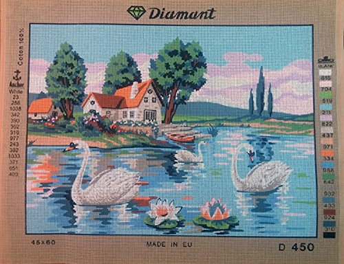 SWANS IN THE LAKE NEEDLEPOINT CANVAS