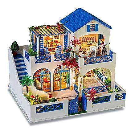 Amazon Com Rylai Handmade Wooden Dollhouse Miniature Diy Kit Large
