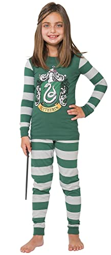 Harry Potter Big Boys' Slytherin Cotton Pajama Set, Green, 12