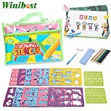 Drawing Stencils For Kids 52 Piece Stencil Drawing Kit Bonus 2 Lovely Clips Includes Animal /Number/...