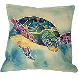 Monkeysell Mediterranean style The turtle design pillowcases,Home decoration Cotton linen square decoration fashion the pillowcase - 18'X18 (K)'