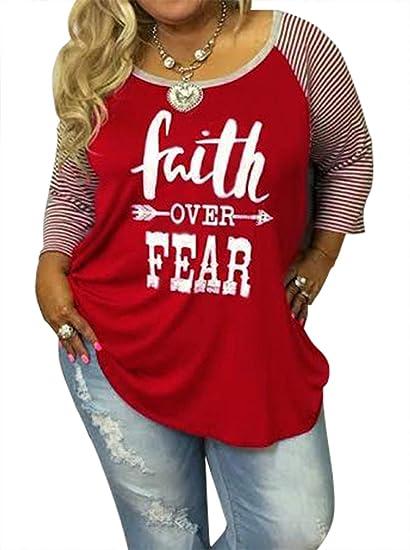 f3f7f25cb30 Amazon.com  SUNFLYLIG Women s Plus Size Faith Over Fear Baseball T-Shirt  Striped Shirt 3 4 Raglan Sleeve Loose Blouse Tee Tops  Clothing