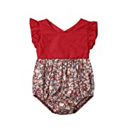 Toddler Baby Girl Flower Romper Kid Summer Stripe Ruffle Floral Bodysuits Jumpsuit Outfits Clothes (red, 0-3 Months)